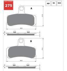 Тормозные колодки Gold Fren S3 275 передние Harley Davidson Dyna / Softail 08- / FA457